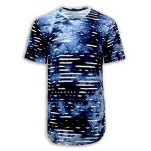 Ripped T-Shirt Space Blue Distressed Shirt - M